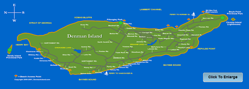 "Map Of Denman Island Denman Island Residents Association | ""To consider and further the"
