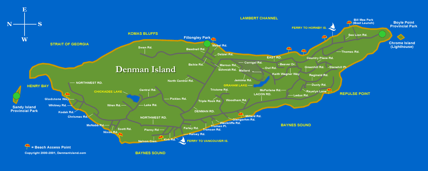 Map Of Denman Island And Hornby Island